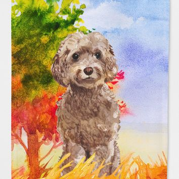 Fall Chocolate Labradoodle Flag Canvas House Size CK1953CHF