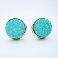 Druzy Double Pearl Earrings