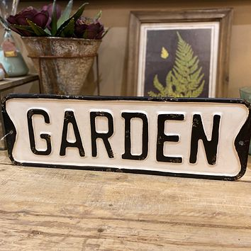 Garden  - Vintage Embossed Metal Street Sign - 18-in x 6-in