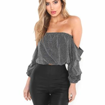 Gray Off Shoulder Puff Sleeve Metallic Yarn Crop Top