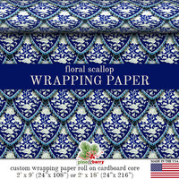 Floral Scallop Wrapping Paper | Vintage Asian Floral With Modern Design Gift Wrap In Two Sizes Great For Any Occasion. Made In The USA