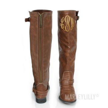 Monogrammed Tan Buckle Riding Boots | Marley Lilly
