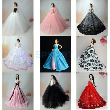 9 Patterns Lace/Gauze Wedding Bridal Tube Trailing Dress Skirt for Barbie 29cm Dolls Clothing Accessories