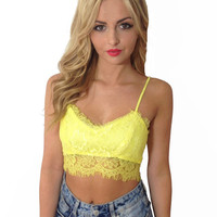 Floral Bralet Top with Lace Accent
