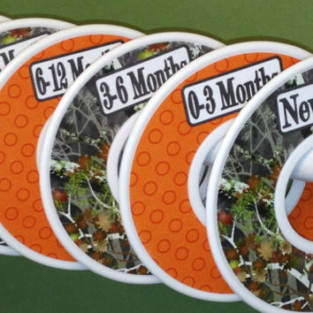 6 Custom Closet Clothes Dividers Organizers in Camo with Orange Dots Baby Boy Girl Shower Gift Nursery Oak Hunter Woodland Trees