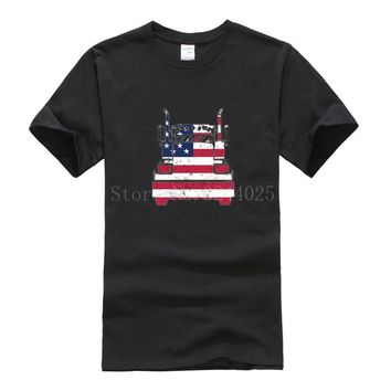 USA American Flag Trucker T-Shirts - Men's Crew Neck Novelty Top Tees