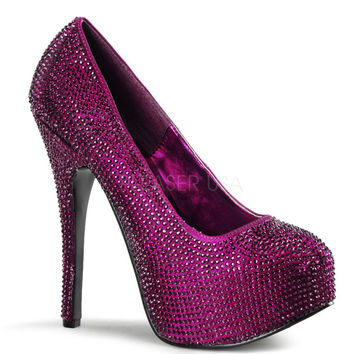 Bordello Teeze-06R Purple Satin Rhinestone Platforms