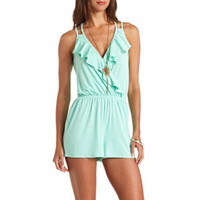LACE-BACK SURPLICE RUFFLE ROMPER