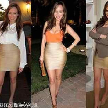Celebrity pencil bandage skirt foil print Summer Slim Gold Spring Party XS-L