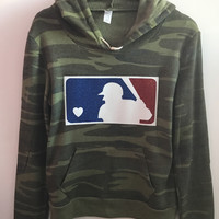 MLB Glitter Logo -  Hoodie Camo - Eco Fleece - Ruffles with Love