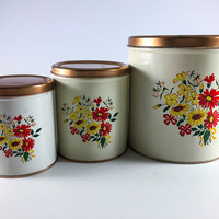 Vintage Metal Tin Red Yellow Flower Decoware Kitchen Canisters