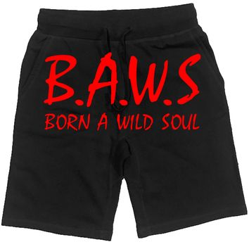 Baws NWA Black French Terry Shorts - Red Ink
