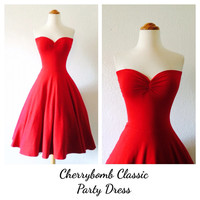 Valentine's Day Red Strapless Dress, Rockabilly Semi Formal, Pin Up Bridesmaid, 1950s Style Cocktail Party Special Occasion Swing