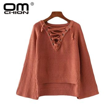 Lace Up Women Sweaters And Pullovers Flare Sleeve Jumper Solid Casual Sexy Sweater Female