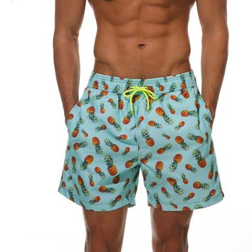 Men Beach Shorts Print Pineapple Compression