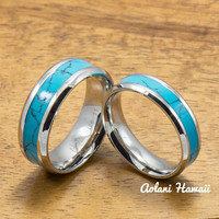 Stainless Steel Wedding Band Set with turquoise Inlay (6mm - 8mm Width, Flat style)