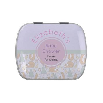 Cute Woodland Creatures Pattern Baby Shower Thanks Jelly Belly Tins