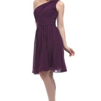 Ruched One Shoulder Chiffon Bridesmaid Dress