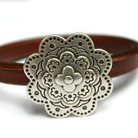 Flower Bracelet Flower Bangle Leather Flower Bracelet Brown Leather Bangle Flower Jewelry Flower Clasp Gift Idea PepperPotLeatherShop PPP