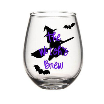 Witch's Brew Wine Glass, Halloween Wine Glass, Witch Wine Glass, Fall Wine Glass, Halloween