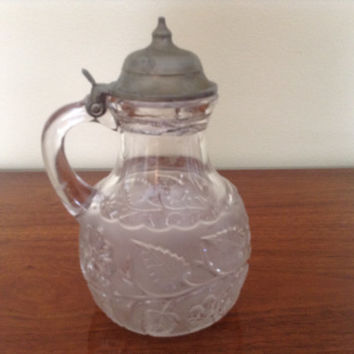 Vintage Antique pewter pressed glass floral syrup pitcher