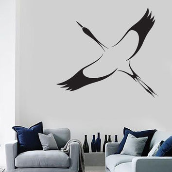 Vinyl Wall Sticker Stork Bird Symbol Good Fortune Long Life Unique Gift (n537)