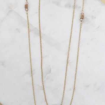 Gold Long Layered Adjustable Necklace