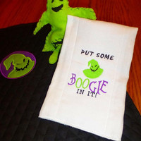 BaBY DiAPER CHANGiNG Mat Pad OOGIE BooGie JaCK SkeLLingTon NiGHTmaRe BeFore CHRiSTMaS QUiLTED CoTTON & MiNKY Boutique Designs by Sugarbear