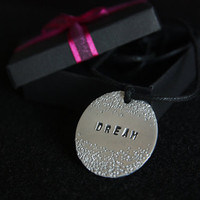 Dream, Handmade Adjustable Necklace with Aluminium Medallion