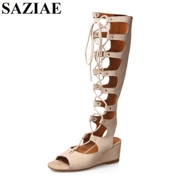 2015 Fashion  Hot Sale Genuine Leather Shoes Wedges High Heels Gladiator Women Sandals Lace up Sexy Knee High Summer Women Shoes