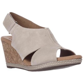 Clarks Helio Float4 Peep Toe Slingback Wedge Sandals, Sand Suede, 6 W US
