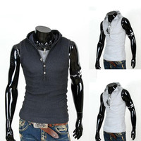 Slim Fit Henley Style Sleeveless Tee with Hood