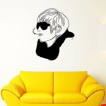 Wall Decal Style Fashion Glasses Cigarette Scarf Head Vinyl Stickers Unique Gift (ed095)