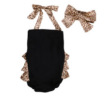 Leopard Print Romper with Headband