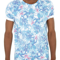 White Floral Printed T-Shirt - Mens New In - New In - Burton