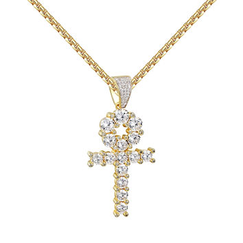 Solitaire Ankh Cross Pendant 14k Gold Over 925 Silver Round Cut Box Necklace 24""