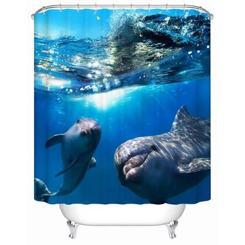 2016 New Two Dolphins Waterproof Shower Curtain Bathroom Curtain Eco-Friendly High Quality Fabric Shower Curtain Y-197
