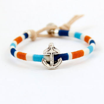 Woven Friendship Bracelet  Anchor  Nautical by MesaBlue on Etsy