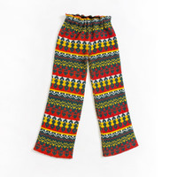 Vintage 1970s Pants - Knit Red Yellow Green Hippie Boho Capris - XS / Extra Small