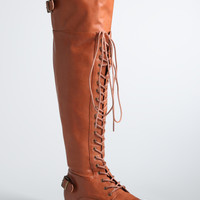 Lace Up Over the Knee Boots (Wide Width)