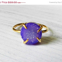 SUMMER SALE Druzy ring - Gold dipped - Purple druzy ring - Stacking ring - Skinny ring