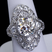 Art Deco 4.60 Carat Old Cushion Cut Diamond Ring
