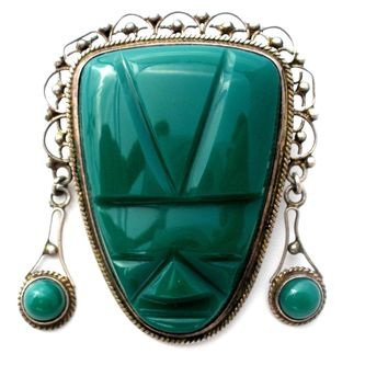 Mask Face Brooch Mexican Brooch Pin 925