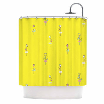 "MaJoBV ""Rosewall / Yellow"" Floral Pattern Shower Curtain"