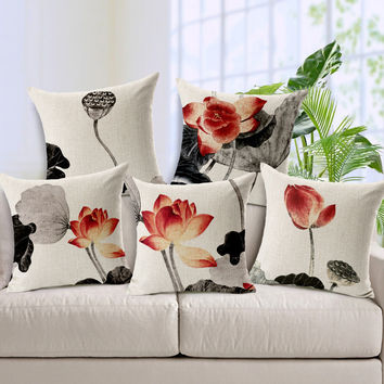 free shipping Chinese ink painting lotus cartoon cotton and linen pillow ikea  cushion for leaning annatto furniture