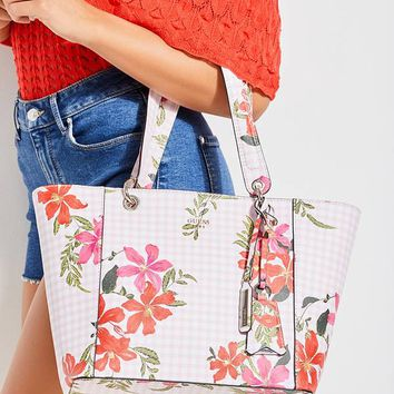 Kamryn Gingham Floral Tote at Guess