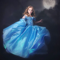 Fashion Kid Girl Lace Bow Off Shoulder Cinderella Princess Dress Lovely Children Dance One Piece For 2-7Y = 1958313988