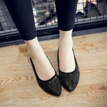 Women's single shoes foot wrapping low-heeled lace sweet transparent solid color 33 - 43 size customize