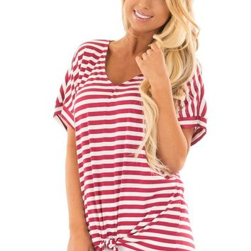 Red and White Striped Top with Front Tie Detail