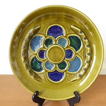 Mid-century McCoy pottery green and blue flower ashtray, Mt. Clemens MCP